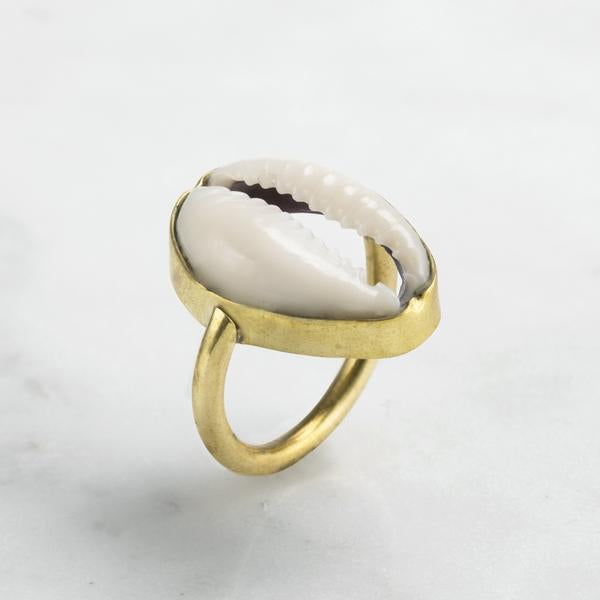 Cowrie Shell Ring Brass