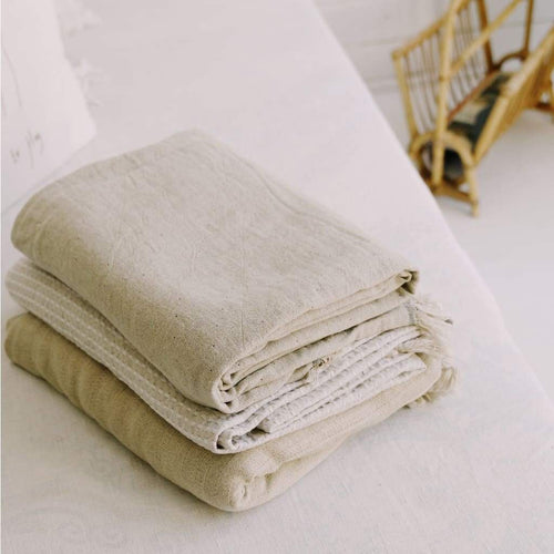 CACTI BEIGE Linen and cotton Throw / blanket