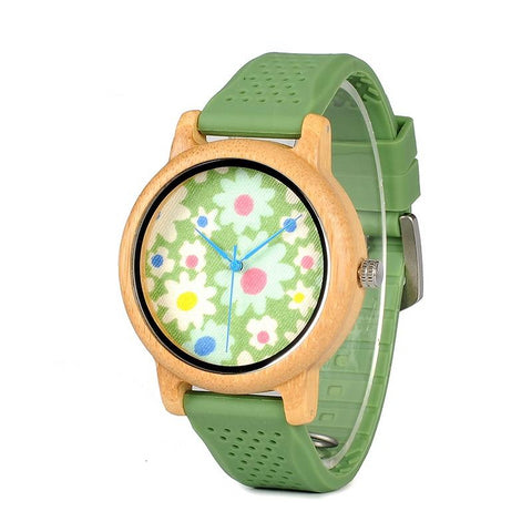 Montre en bois - Green Flower