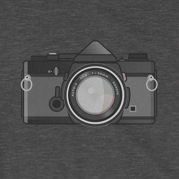 Olympus OM-1 Black Body New Tee Shirt Retro Camera Close Up Pattern Dark Grey Heather