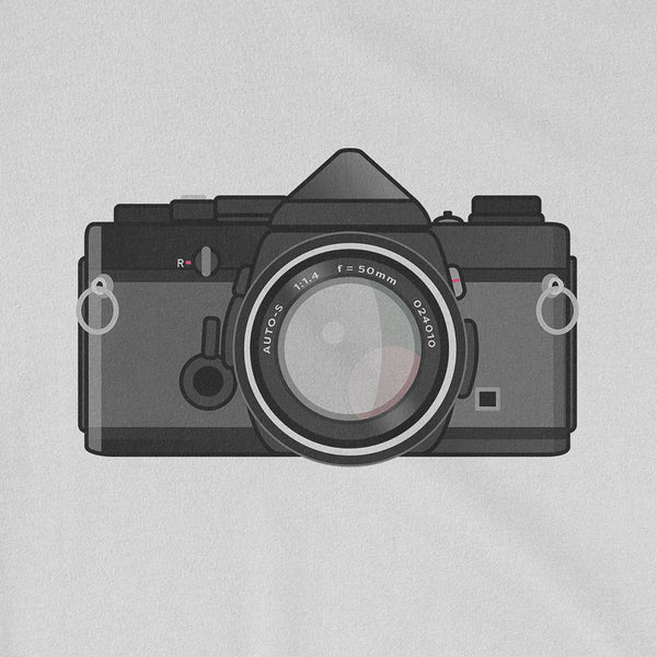 Olympus OM-1 Black Body New Tee Shirt Retro Camera Close Up Pattern White