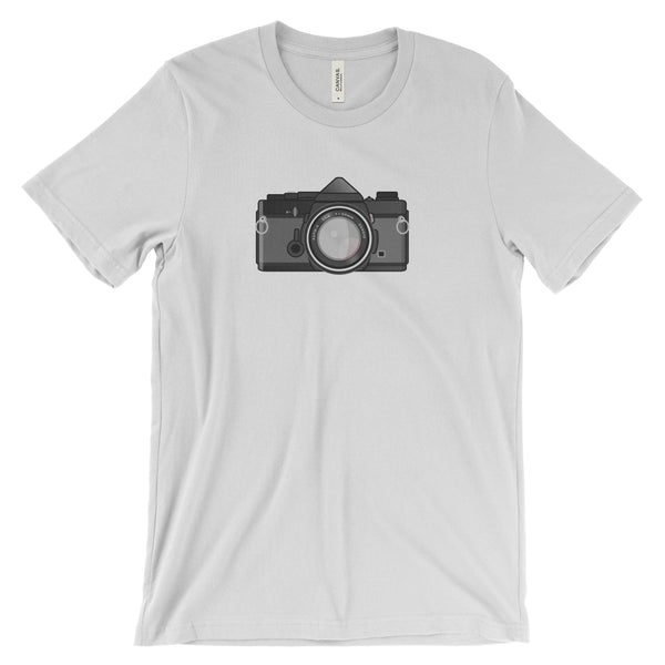 Olympus OM-1 Black Body New on White Tee Shirt Flat