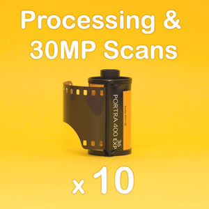 10x Rolls Processing & 30MP Scans for Standard Color Film