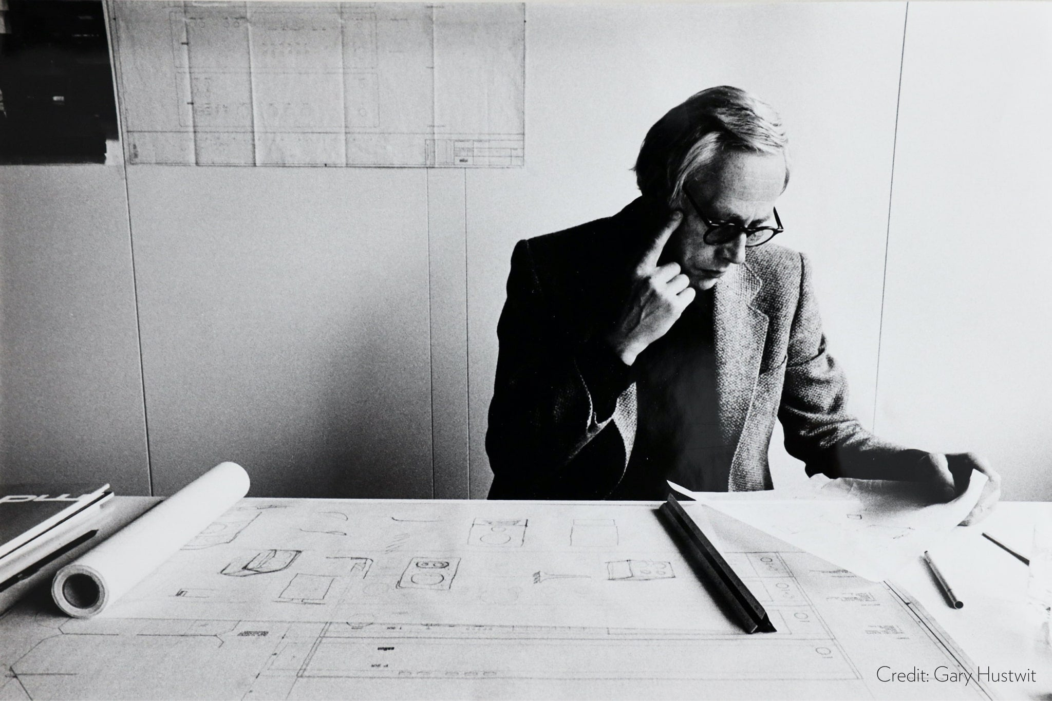 Dieter Rams working for Braun in his design studio.