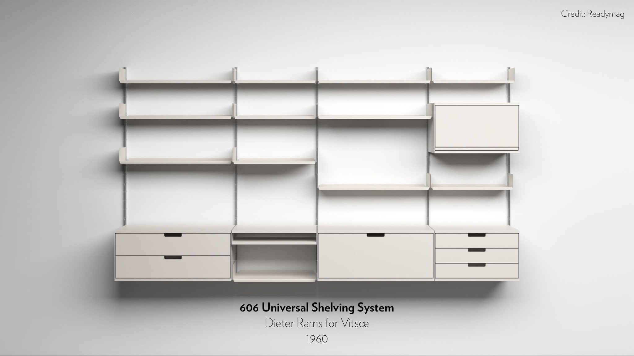 606 Universal Shelving System designed by Dieter Rams for Vitsoe in 1960.