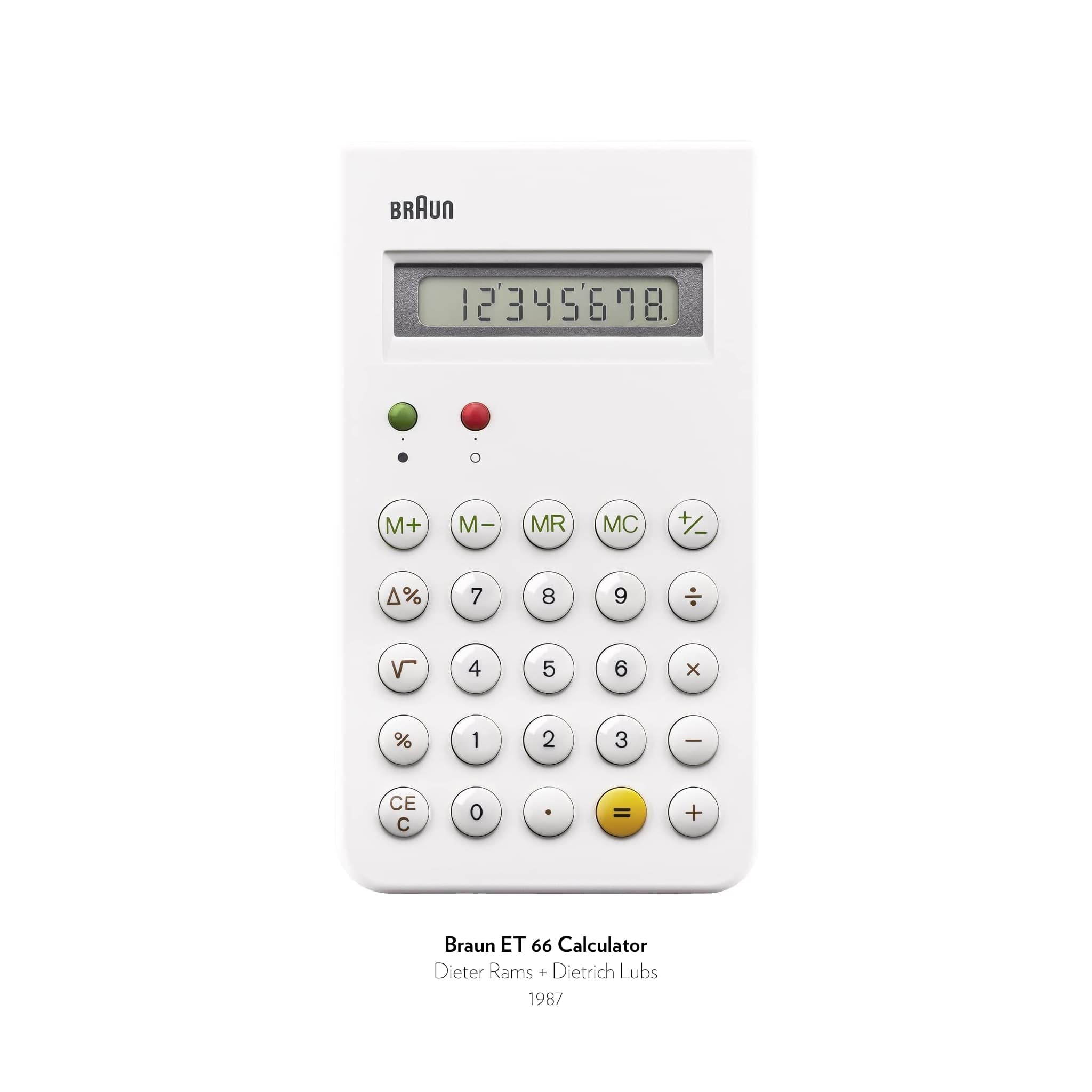 Braun ET 66 Calculator designed by Dieter Rams and Dietrich Lubs in 1987.