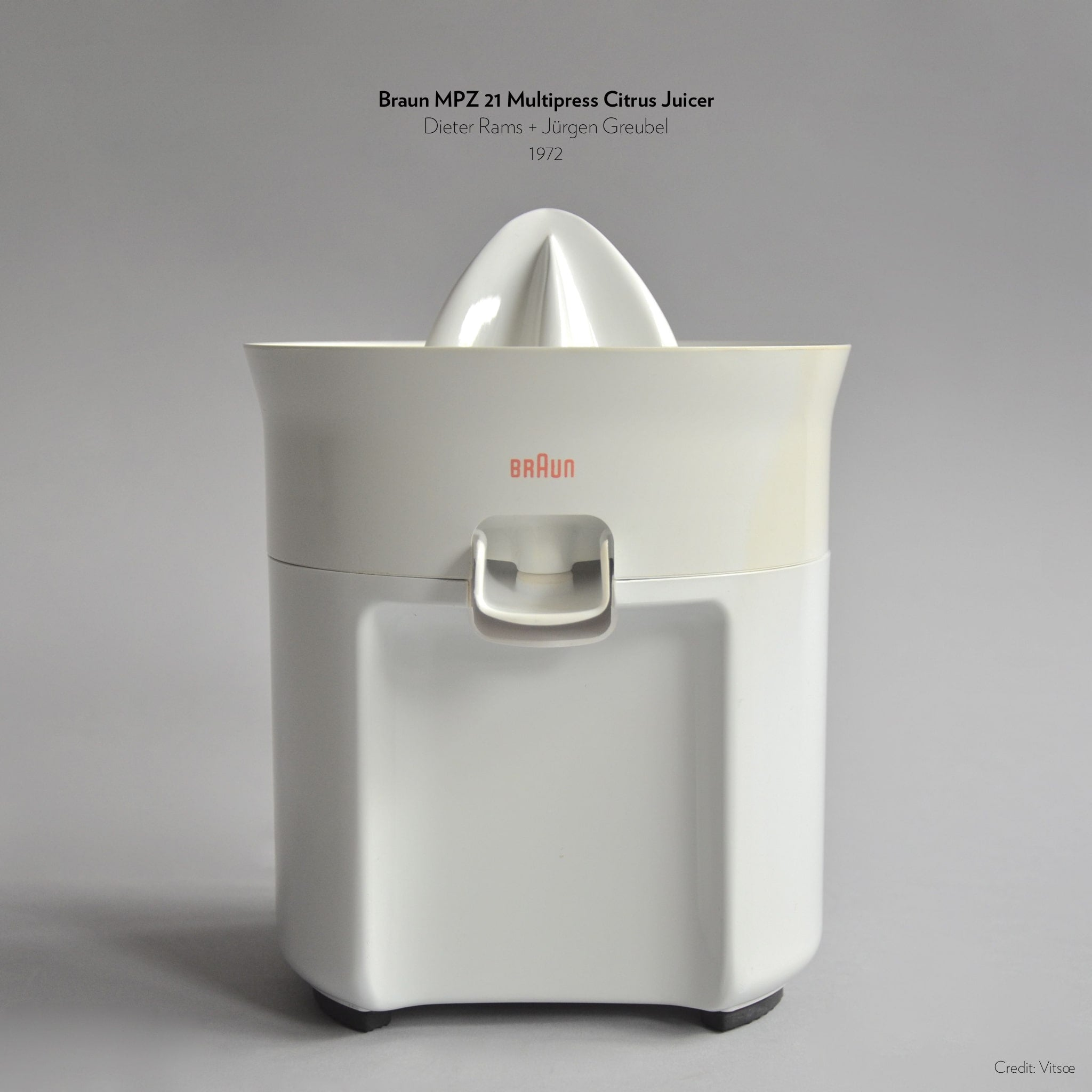 Braun MPZ 21 Multipress Citrus Juicer designed by Dieter Rams and Jurgen Greubel in 1972.