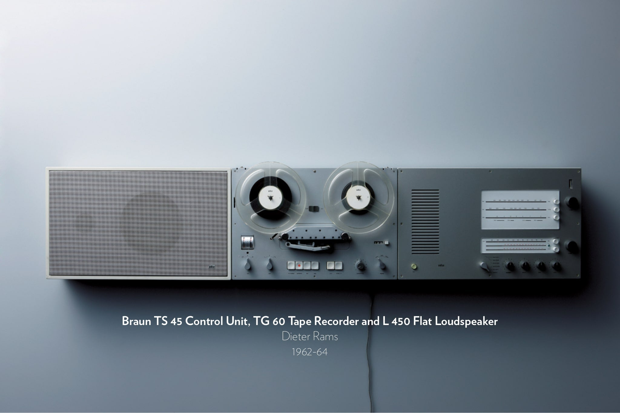 Braun TS 45 Control Unit, TG 60 Tape Recorder and L 450 Flat Loudspeaker designed by Dieter Rams from 1962 to 1964.