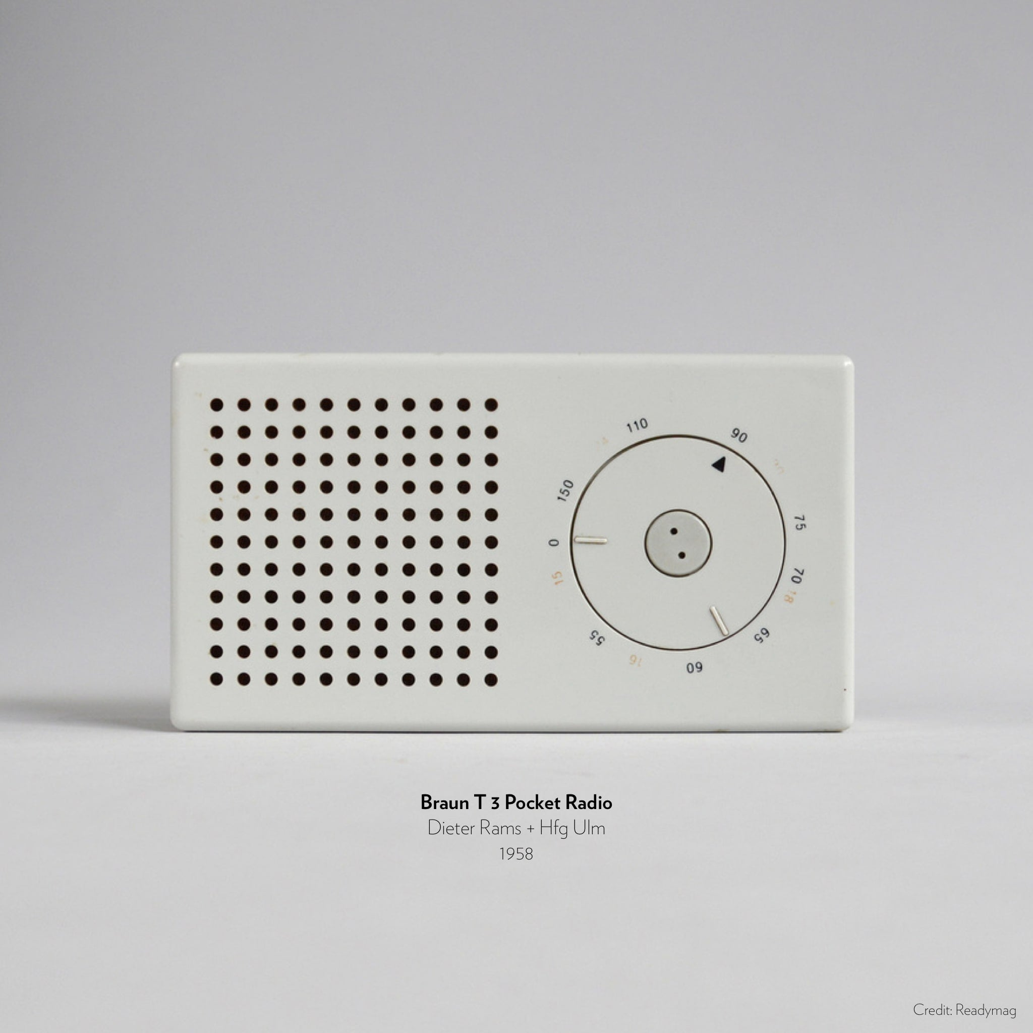 Braun T 3 pocket radio designed by Dieter Rams and Hfg Ulm in 1958, inspiration for Apple iPod.