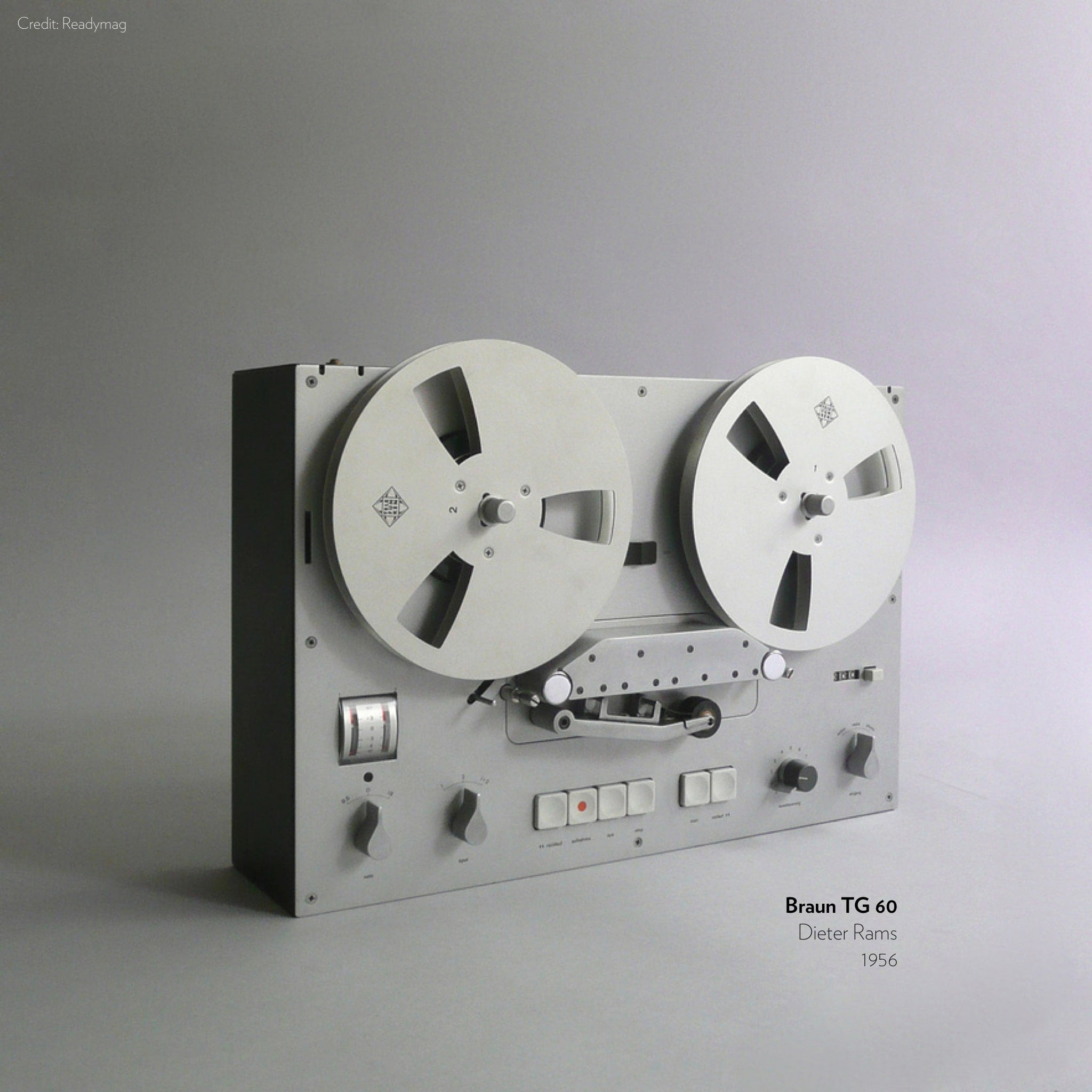 Braun TG 60 designed by dieter Rams in 1956, inspiration for Apple podcast app.