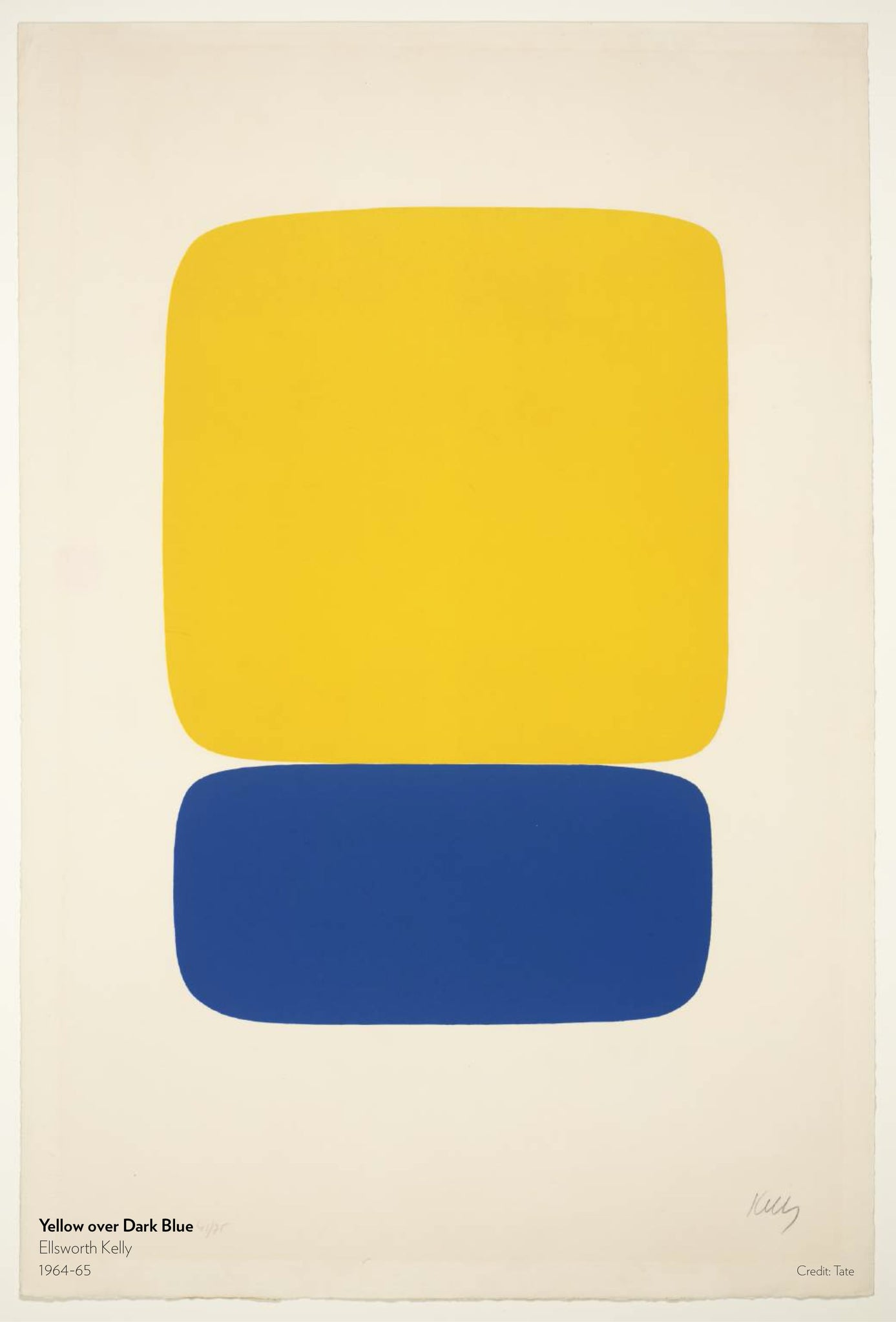 Yellow over Dark Blue. Painting by Ellsworth Kelly, 1964 to 1965.