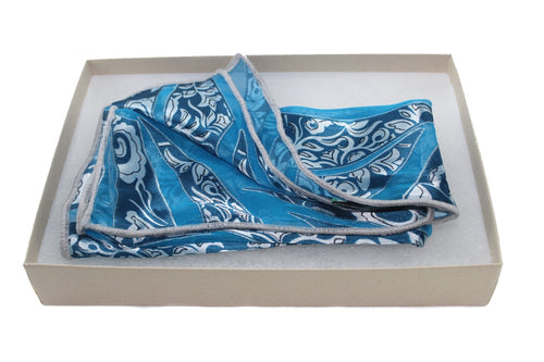 The Aqua Jewel Silk Pocket Square