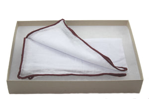 Tissue with Burgundy Stitch Edge Linen Pocket Square
