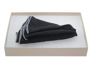 Black Tissue with Grey Linen Pocket Round