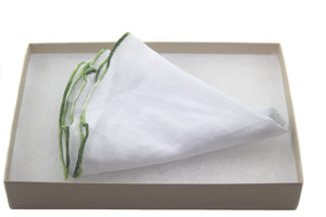 Tissue with Green Swirl Linen Pocket Round