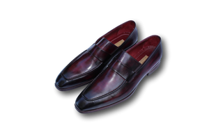 Men's Loafer Purple & Black Hand-Painted Leather Upper with Leather Sole