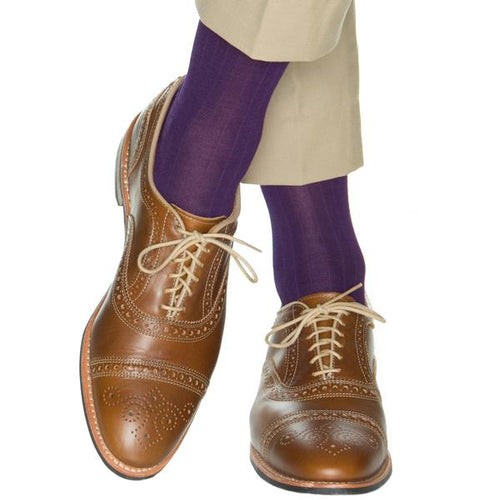 Royal Purple Ribbed Solid Cotton Linked Toe-Over the Calf