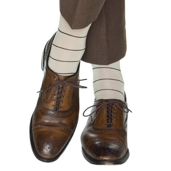 Tan with Coffee Narrow Stripe Cotton Sock Linked Toe-Over the Calf