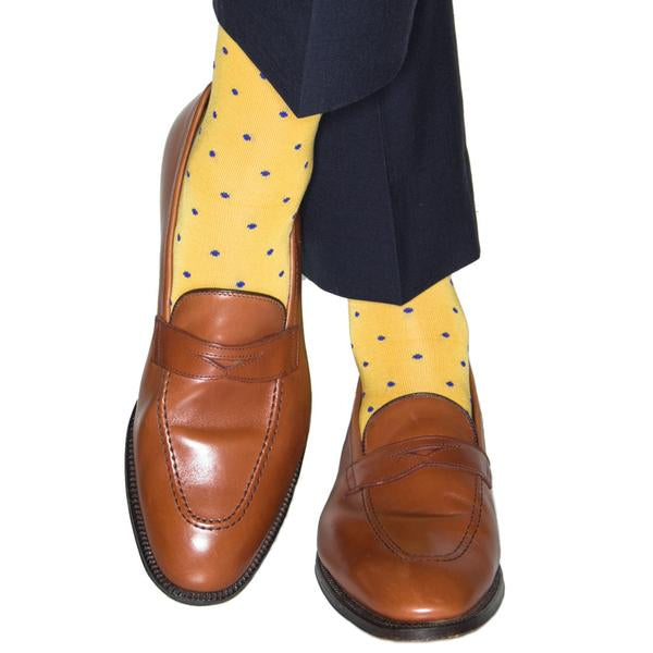 Yolk with Clematis Blue Dot Cotton Sock Linked Toe-Over the Calf