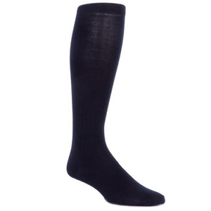 Black Solid Ribbed Cotton Sock Linked Toe-Over The Calf