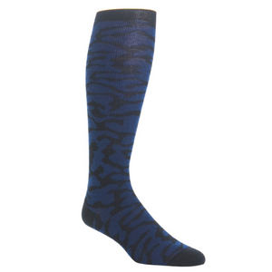 Black with Dress Navy Camo Sock Fine Merino Wool Linked Toe-Over the Calf