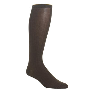 Coffee Brown Ribbed Solid Sock Cotton Linked Toe-Over the Calf