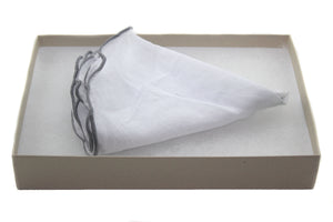 Tissue with Grey Stitch Edge Linen Pocket Round