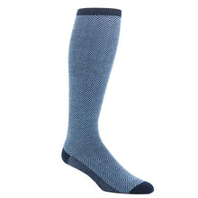 Dress Navy and Sky Blue Herringbone Fine Merino Wool Sock-Over the Calf