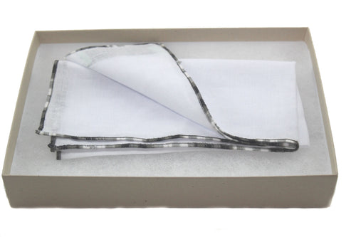 Tissue with Black Swirl Stitch Edge Linen Pocket Square