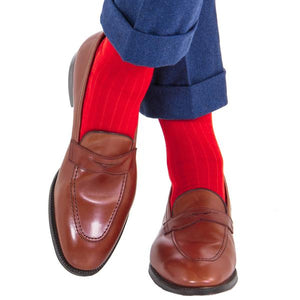 Red Solid Ribbed Cotton Sock Linked Toe-Over the Calf