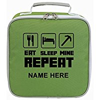 Eat Sleep Mine Lunch Sandwich Cooler Butty Box Bag - FREE PERSONALISATION