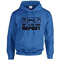 EAT SLEEP MINE HOODIE Jumper Sweatshirt - FOR LIMITED TIME WITH FREE OFFICIAL MINECRAFT WRISTBAND & FREE PERSONALISATION !!!