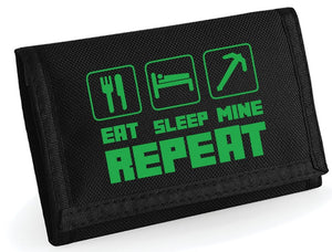 Minecraft wallet  - FREE PERSONALISATION - Child's Gaming Wallet Eat Sleep Mine Ripper Wallet (Black)