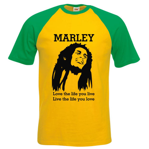 Bob Marley Mens Baseball TShirt Love The Life You Live , Live The Life You Love