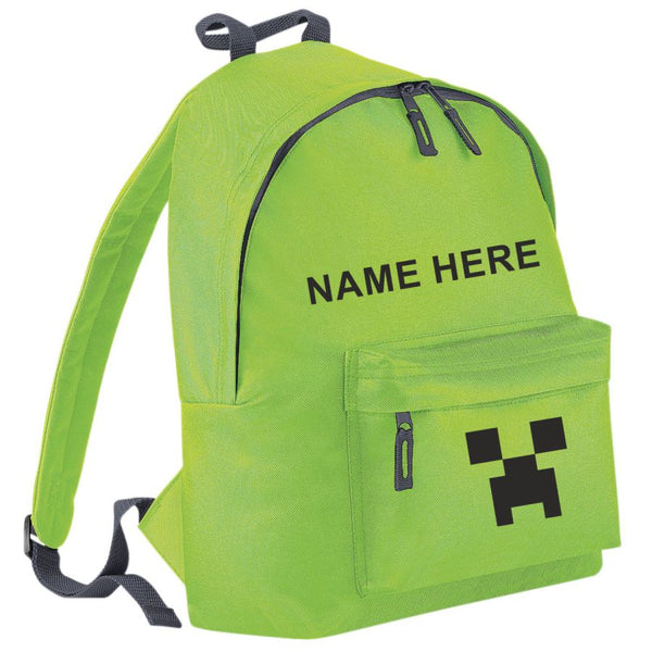 Minecraft Creeper Backpack - 10 Colour Combinations.  Free Personalisation.