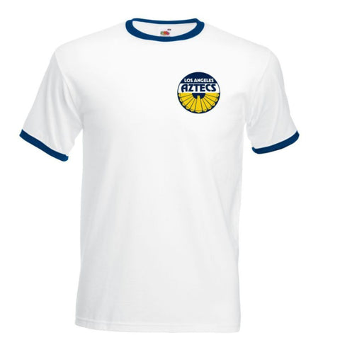 Retro LA Aztecs Ringer Football TShirt,Soccer,NASL, George Best, New York Cosmos - Navy / Yellow Logo
