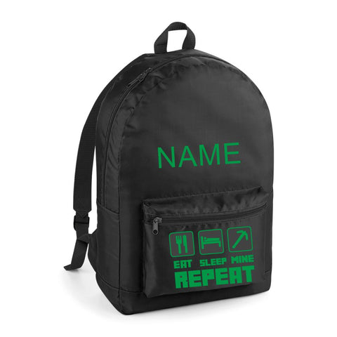 Minecraft Backpack in Black with Green Logo
