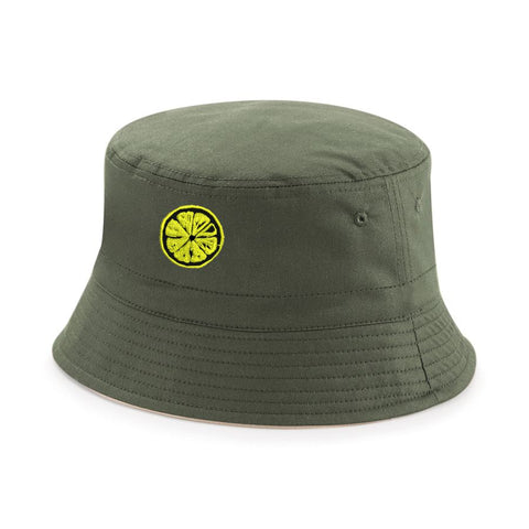 The Stone Roses Adored Bucket Hat With Embroidered Lemon Badge in Olive