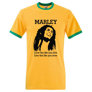 Bob Marley Mens Ringer TShirt Love The Life You Live , Live The Life You Love