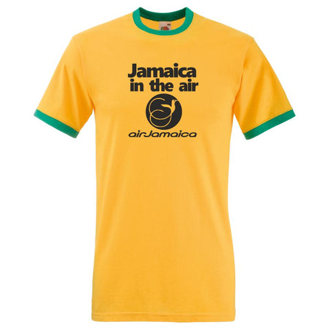 Retro Air Jamaica Ringer TShirt In Jamaican Flag Colours of Yellow, Green & Black