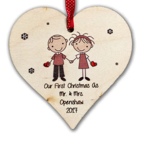 Wooden Heart Couple Tree Hanger - Fizzy Strawberry Gifts