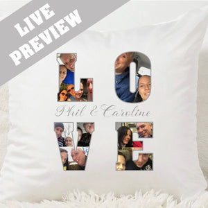 LOVE Photo Word Cushion - Fizzy Strawberry Gifts