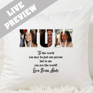 MUM Photo Word Cushion - Fizzy Strawberry Gifts