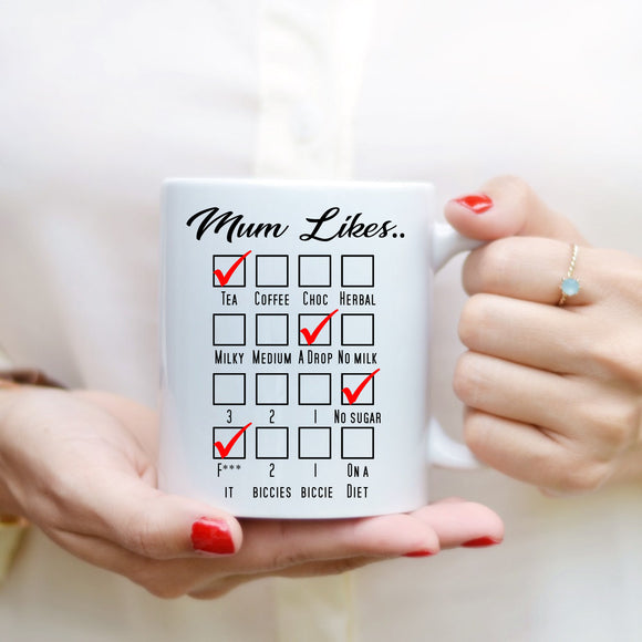 Mother's Day Mug - Mum Likes - Fizzy Strawberry Gifts