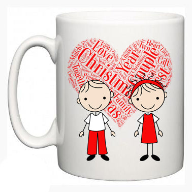 Personalised Christmas Mugs Pair - Matching Couple Design - Fizzy Strawberry Gifts