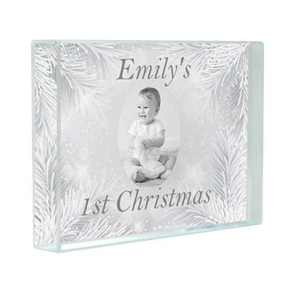 My First Christmas Acrylic Photo Block - Fizzy Strawberry Gifts