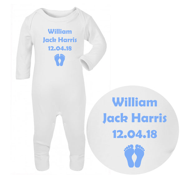 Personalised Baby Sleepsuit - Birthdate (Blue) - Fizzy Strawberry Gifts