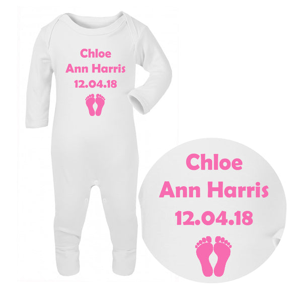 Personalised Baby Sleepsuit - Birthdate (Pink) - Fizzy Strawberry Gifts
