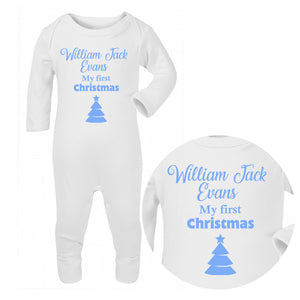 Personalised Baby Sleepsuit - Christmas (Blue) - Fizzy Strawberry Gifts
