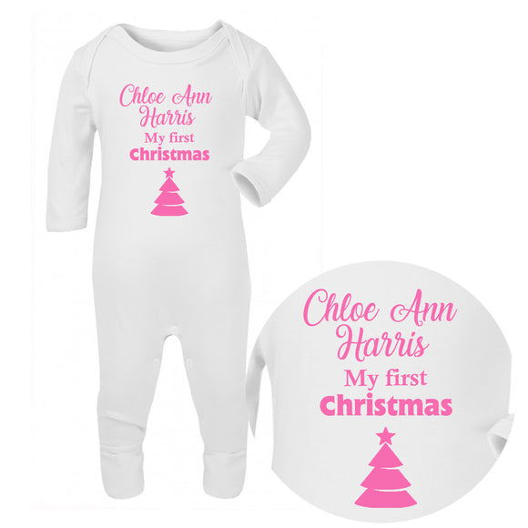 Personalised Baby Sleepsuit - Christmas (Pink) - Fizzy Strawberry Gifts